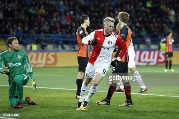 goalkeeper Andriy Pyatov of FC Shakhtar Donetsk David Khocholava of FC Shakhtar Donetsk Nicolai Jorgensen of Feyenoord Bohdan Butko of FC Shakhtar...