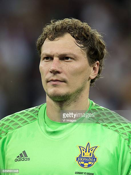 goalkeeper Andriy Pyatov of Ukraine during the UEFA EURO 2016 Group C group stage match between Germany and Ukraine at the SStade Pierremauroy on...