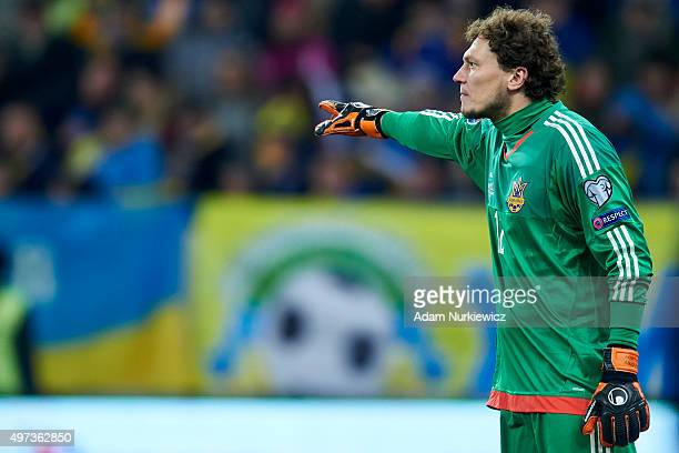 Goalkeeper Andriy Pyatov of Ukraine gestures during the UEFA EURO 2016 Playoff for Final Tournament First leg between Ukraine and Slovenia at Lviv...