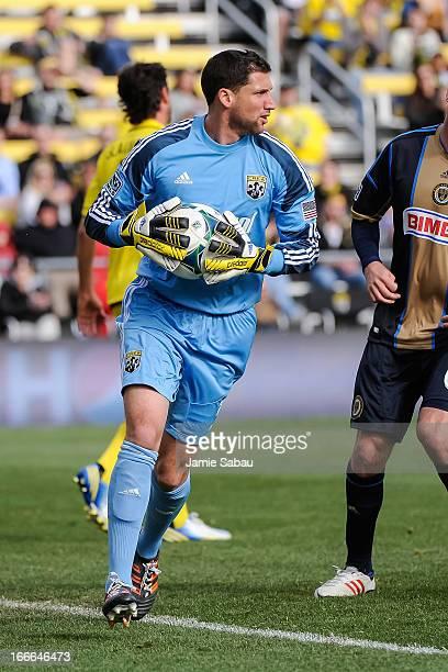 Goalkeeper Andy Gruenebaum of the Columbus Crew defends the net against the Philadelphia Union on April 6 2013 at Crew Stadium in Columbus Ohio