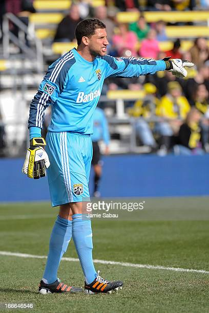 Goalkeeper Andy Gruenebaum of the Columbus Crew shouts instructions to his team during a game against the Philadelphia Union on April 6 2013 at Crew...