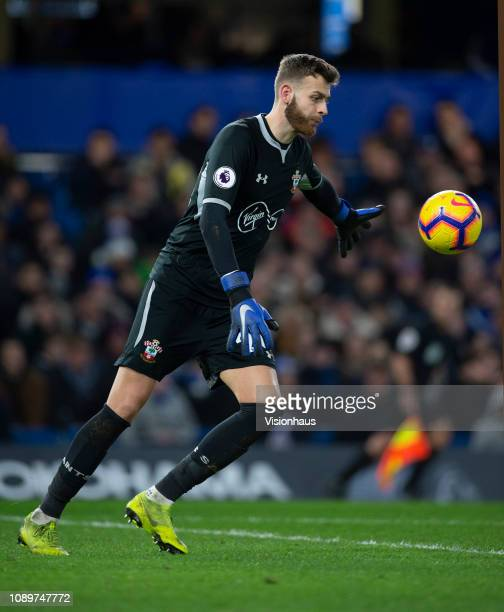 Goalkeeper Angus Gunn of Southampton during the Premier League match between Chelsea FC and Southampton FC at Stamford Bridge on January 2 2019 in...