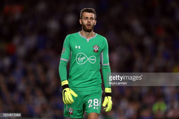 Goalkeeper Angus Gunn of Southampton looks on during the Carabao Cup Second Round match between Brighton Hove Albion and Southampton at American...