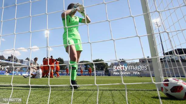 Goalkeeper Anna Leat of New Zealand reacts after Fenna Kalma of Netherlands scored her team's first goal during the FIFA U20 Women's World Cup France...