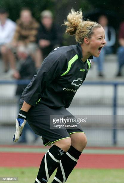Goalkeeper AnnaFelicitas Sarholz of Potsdam celebrates after the penalty shootout of the Women B Juniors Final between FCR 2001 Duisburg and FFC...