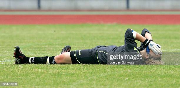 Goalkeeper AnnaFelicitas Sarholz of Potsdam covers her face after the penalty shootout of the Women B Juniors Final between FCR 2001 Duisburg and FFC...