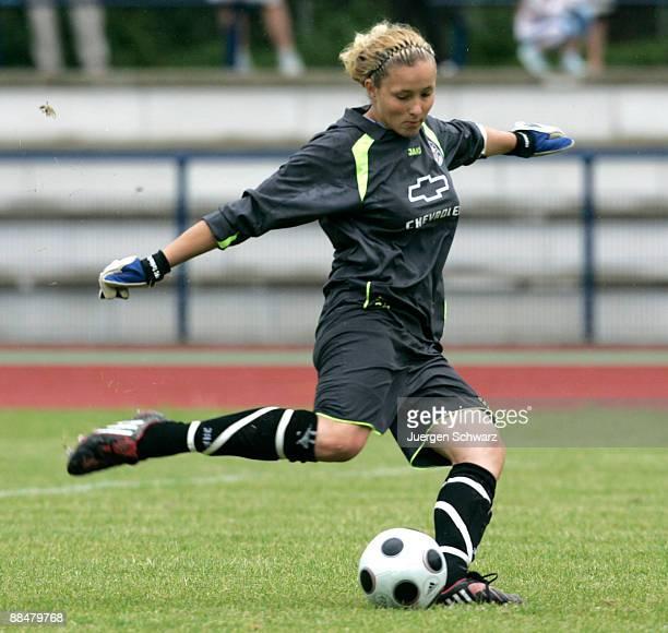 Goalkeeper AnnaFelicitas Sarholz of Potsdam kicks the ball duringh the penalty shootout of the Women B Juniors Final between FCR 2001 Duisburg and...