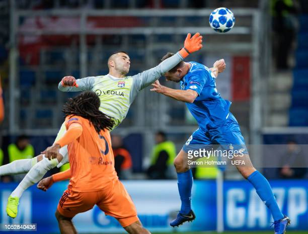 Goalkeeper Anthony Lopes of Lyon makes a save against Adam Szalai of Hoffenheim during the UEFA Champions League Group F match between TSG 1899...