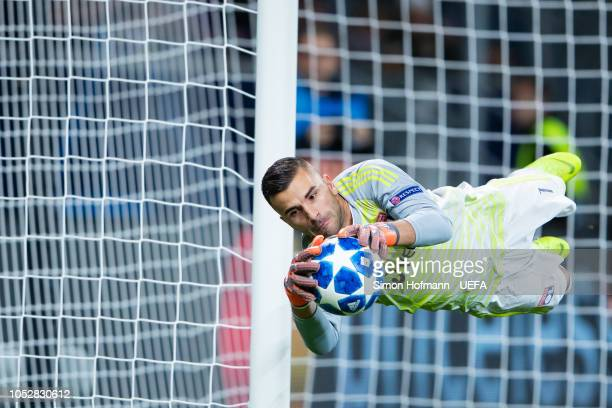 Goalkeeper Anthony Lopes of Lyon makes a save during the UEFA Champions League Group F match between TSG 1899 Hoffenheim and Olympique Lyonnais at...