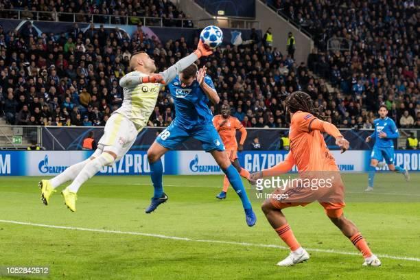goalkeeper Anthony Lopes of Olympique Lyonnais Adam Szalai of TSG 1899 Hoffenheim Jason Denayer of Olympique Lyonnais during the UEFA Champions...