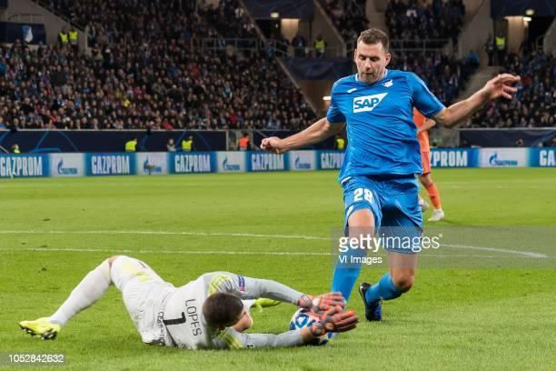 goalkeeper Anthony Lopes of Olympique Lyonnais Adam Szalai of TSG 1899 Hoffenheim during the UEFA Champions League group E match between TSG 1899...