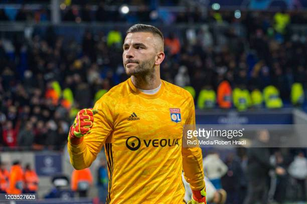 Goalkeeper Anthony Lopes of Olympique Lyonnais celebrates the win after the UEFA Champions League round of 16 first leg match between Olympique Lyon...