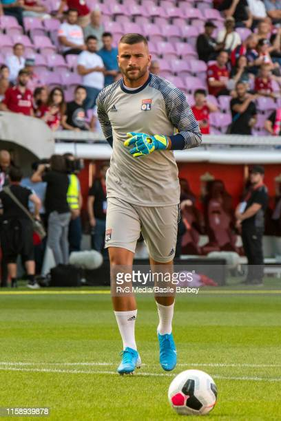Goalkeeper Anthony Lopes of Olympique Lyonnais warms up prior the Pre-Season Friendly match between Liverpool FC and Olympique Lyonnais at Stade de...