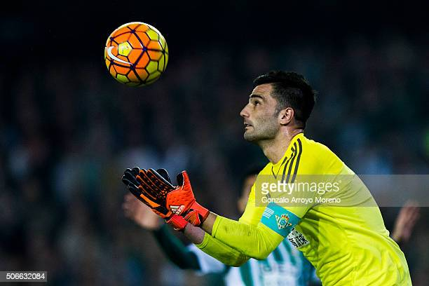 Goalkeeper Antonio Adan of Real Betis Balompie catches the ball during the La Liga match between Real Betis Balompie and Real Madrid CF at Estadio...