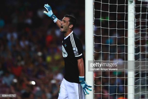 Goalkeeper Antonio Adan of Real Betis Balompie shouts during the La Liga match between FC Barcelona and Real Betis Balompie at Camp Nou stadium on...