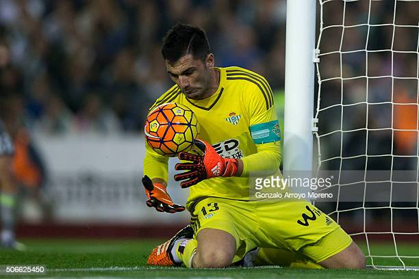 goalkeeper Antonio Adan of Real Betis Balompie stops the ball during the La Liga match between Real Betis Balompie and Real Madrid CF at Estadio...