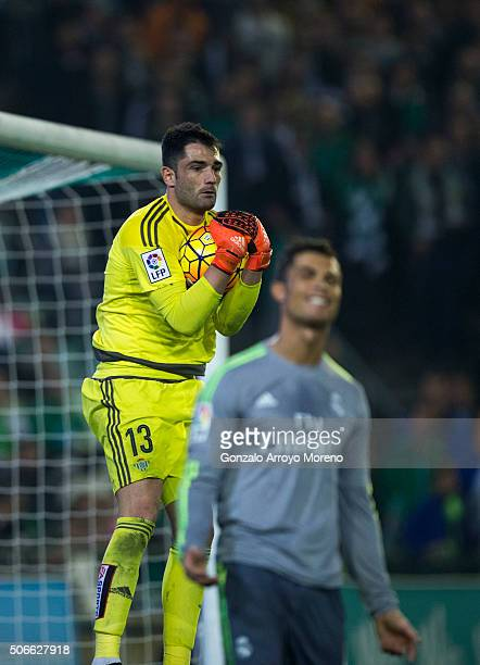 Goalkeeper Antonio Adan of Real Betis Balompie stops the ball striked by Cristiano Ronaldo of Real Madrid CF during the La Liga match between Real...