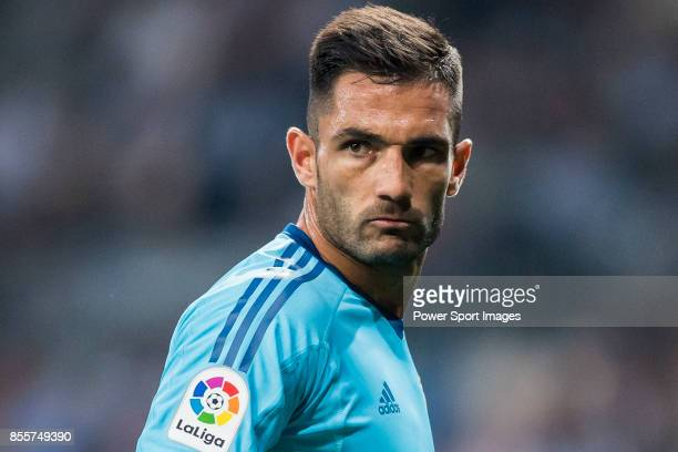 Goalkeeper Antonio Adan of Real Betis gestures during the La Liga 201718 match between Real Madrid and Real Betis at Estadio Santiago Bernabeu on 20...