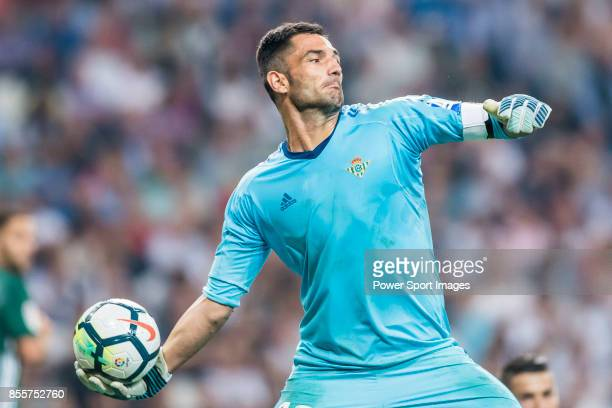 Goalkeeper Antonio Adan of Real Betis in action during the La Liga 201718 match between Real Madrid and Real Betis at Estadio Santiago Bernabeu on 20...