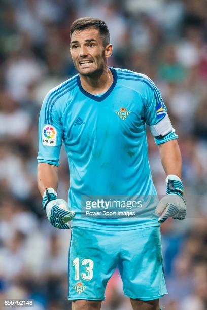 Goalkeeper Antonio Adan of Real Betis reacts during the La Liga 201718 match between Real Madrid and Real Betis at Estadio Santiago Bernabeu on 20...