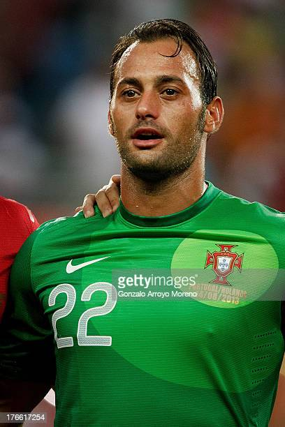 goalkeeper Antonio Bastos alias Beto sings the Portuguese nathional anthem prior to start the International Friendly match between Portugal and...