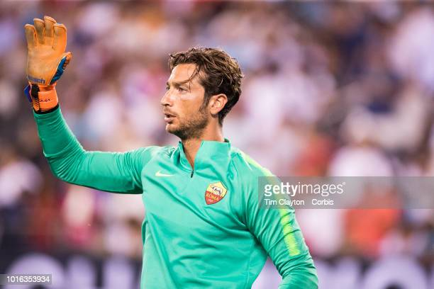Goalkeeper Antonio Mirante of AS Roma during the Real Madrid vs AS Roma International Champions Cup match at MetLife Stadium on August 7 2018 in...