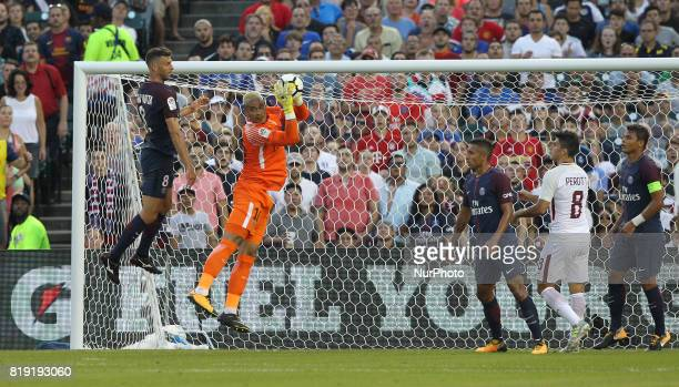 PSG goalkeeper Areola in action during an International Champions Cup match between AS Roma and Paris SaintGermain FC at Comerica Park in Detroit...
