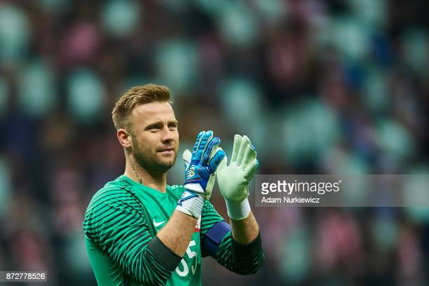 Goalkeeper Artur Boruc from Poland thanks to the supporters while his last game for national team Poland v Uruguay International Friendly soccer...