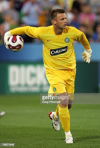 Goalkeeper Artur Boruc of Glasgow Celtic FC looks to throw the ball into play during the 2007 Sierra Mist MLS All-Star Game against the MLS All-Stars...