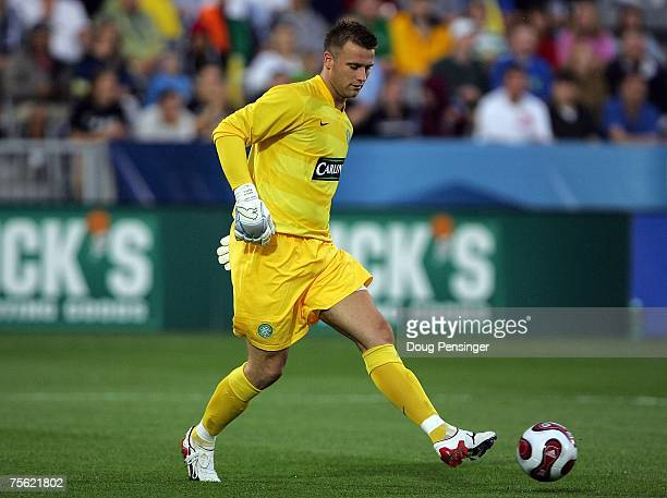 Goalkeeper Artur Boruc of Glasgow Celtic FC plays the ball off his foot during the 2007 Sierra Mist MLS All-Star Game against the MLS All-Stars at...