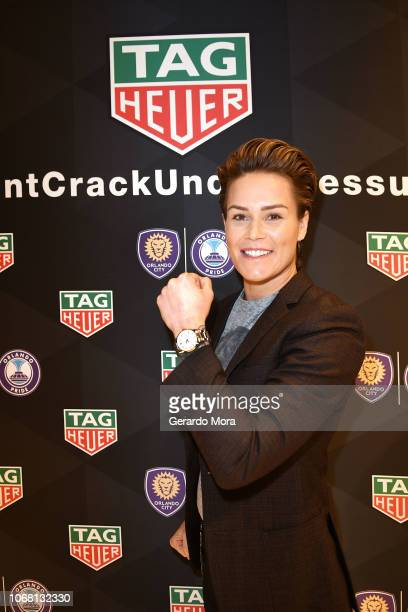 Goalkeeper Ashlyn Harris poses during the 'TAG Heuer Celebrate Partnership with the Orlando City and Orlando Pride' event on November 15 2018 in...