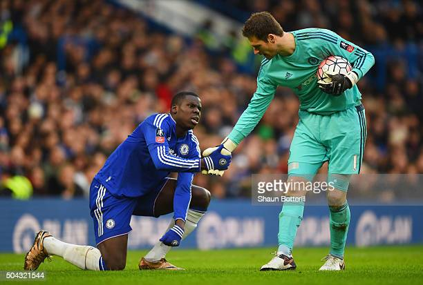 Goalkeeper Asmir Begovic of Chelsea assists team mates Kurt Zouma during the Emirates FA Cup third round match between Chelsea and Scunthorpe United...