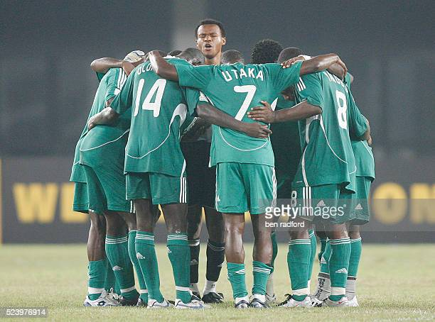 Goalkeeper Austine Ejide of Nigeria leads his team in a post match prayer huddle after the Group B 2008 CAF African Cup of Nations match between...