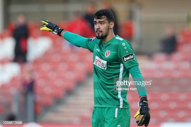 Goalkeeper Avdo Spahic of Cottbus reacts during the 3. Liga match between FC Energie Cottbus and VfL Sportfreunde Lotte at Stadion der Freundschaft...