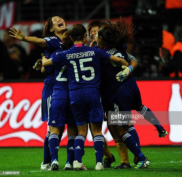 Goalkeeper Ayumi Kaihori of Japan celebrates with team mates after winning the FIFA Women's World Cup Final match between Japan and USA at the FIFA...
