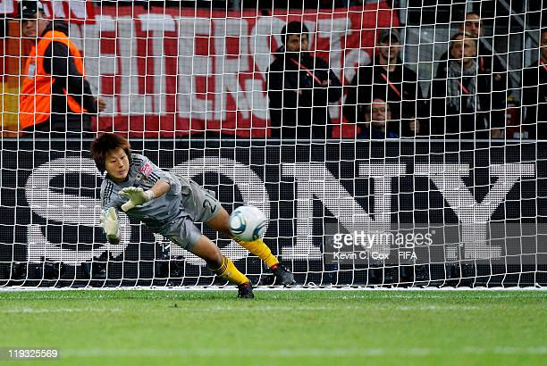 Goalkeeper Ayumi Kaihori of Japan during the FIFA Women's World Cup Final match between Japan and USA at the FIFA World Cup Stadium Frankfurt on July...