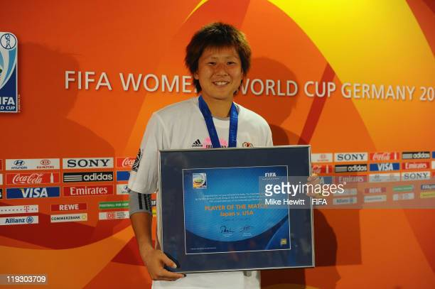Goalkeeper Ayumi Kaihori of Japan is awarded the Player of the Match in the FIFA Women's World Cup 2011 Final match between Japan and USA at the FIFA...