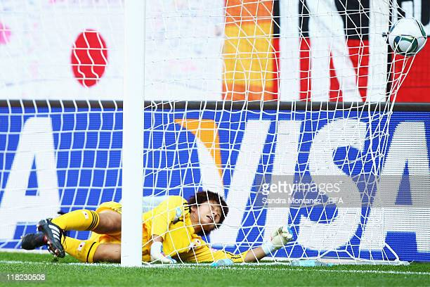 Goalkeeper Ayumi Kaihori of Japan receives the first goal during the FIFA Women's World Cup Group B match between England and Japan at FIFA World Cup...
