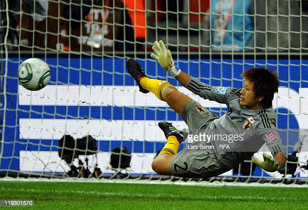 Goalkeeper Ayumi Kaihori of Japan saves a penalty during the FIFA Women's World Cup Final match between Japan and USA at the FIFA Women's World Cup...
