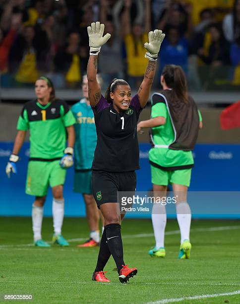 Goalkeeper Barbara of Brazil celebrates after saving a goal during Penalties Shootout to win 00 against Australia during the Women's Football...