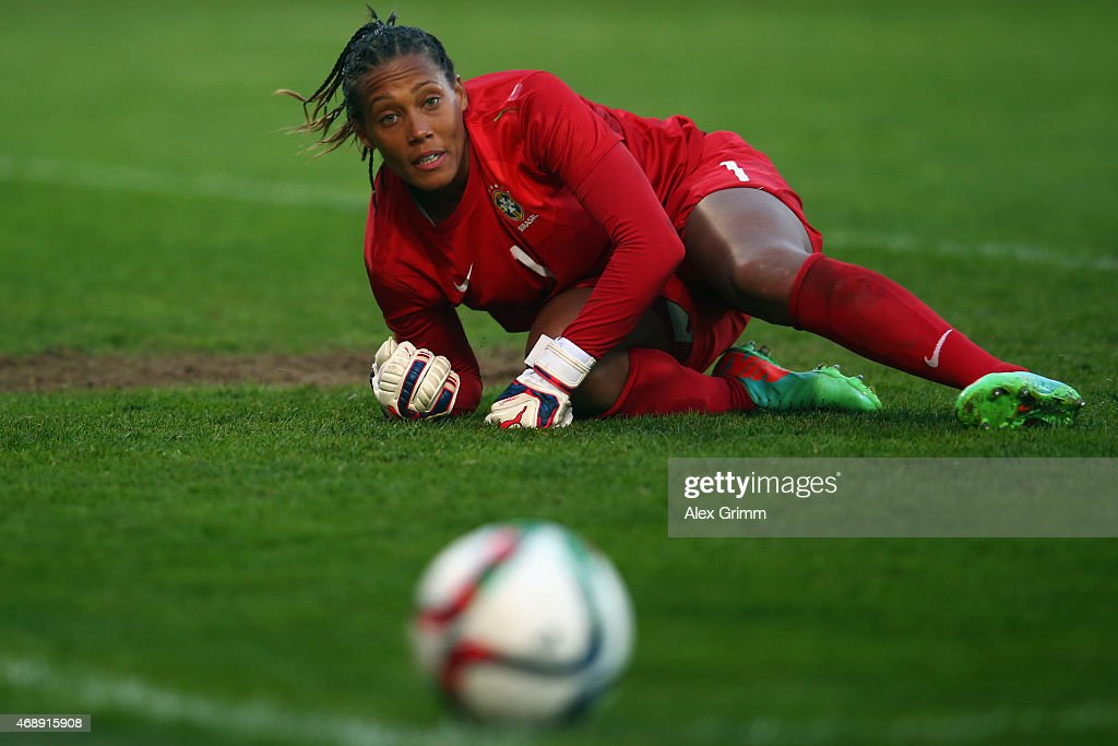Goalkeeper Barbara of Brazil reacts during the Women's International Friendly match between Germany and Brazil at Trolli-Arena on April 8, 2015 in Fuerth, Germany.