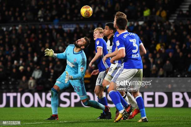 Goalkeeper Bartosz Bialkowski of Ipswich Town mis controls the ball during the Sky Bet Championship match between Derby County and Ipswich Town at...