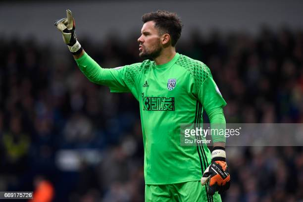 WBA goalkeeper Ben Foster in action during the Premier League match between West Bromwich Albion and Liverpool at The Hawthorns on April 16 2017 in...