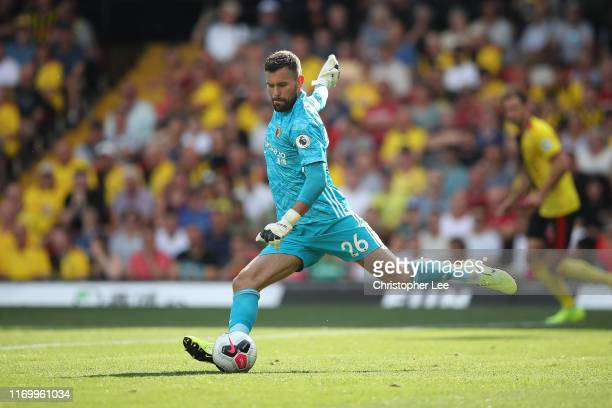 Goalkeeper Ben Foster of Watford during the Premier League match between Watford FC and West Ham United at Vicarage Road on August 24, 2019 in...