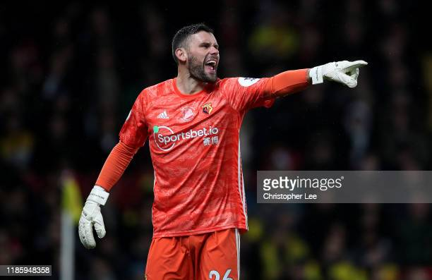 Goalkeeper Ben Foster of Watford during the Premier League match between Watford FC and Chelsea FC at Vicarage Road on November 02, 2019 in Watford,...