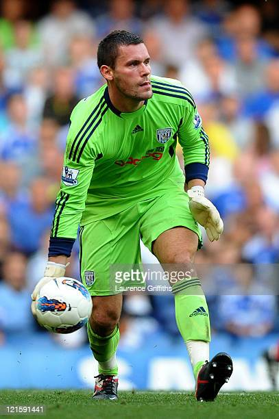 Goalkeeper Ben Foster of West Brom in action during the Barclays Premier League match between Chelsea and West Bromwich Albion at Stamford Bridge on...
