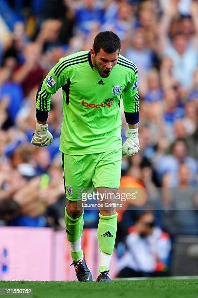 Goalkeeper Ben Foster of West Brom reacts after he is beaten by the shot from Nicolas Anelka of Chelsea to level the scores at 11 during the Barclays...