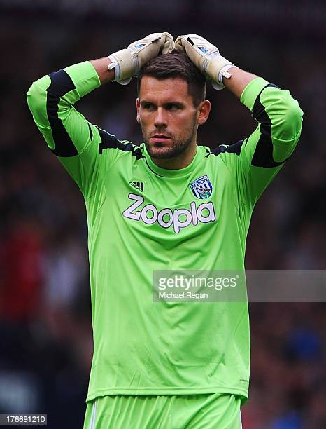 Goalkeeper Ben Foster of West Bromwich Albion looks dejected during the Barclays Premier League match between West Bromwich Albion and Southampton at...