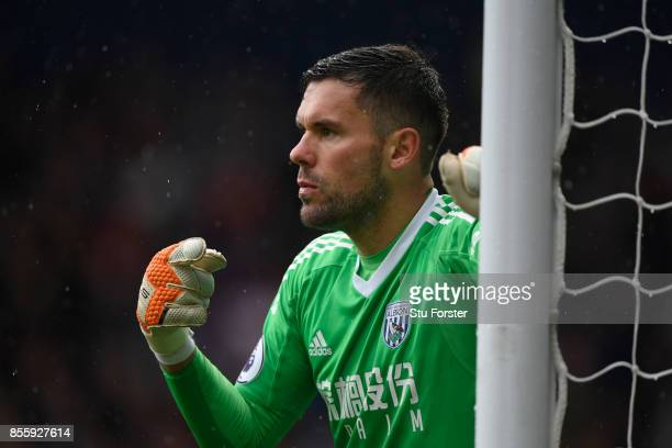 WBA goalkeeper Ben Foster reacts during the Premier League match between West Bromwich Albion and Watford at The Hawthorns on September 30 2017 in...