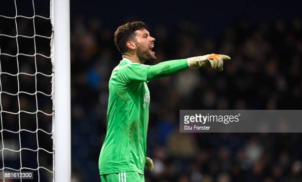 WBA goalkeeper Ben Foster reacts during the Premier League match between West Bromwich Albion and Newcastle United at The Hawthorns on November 28...